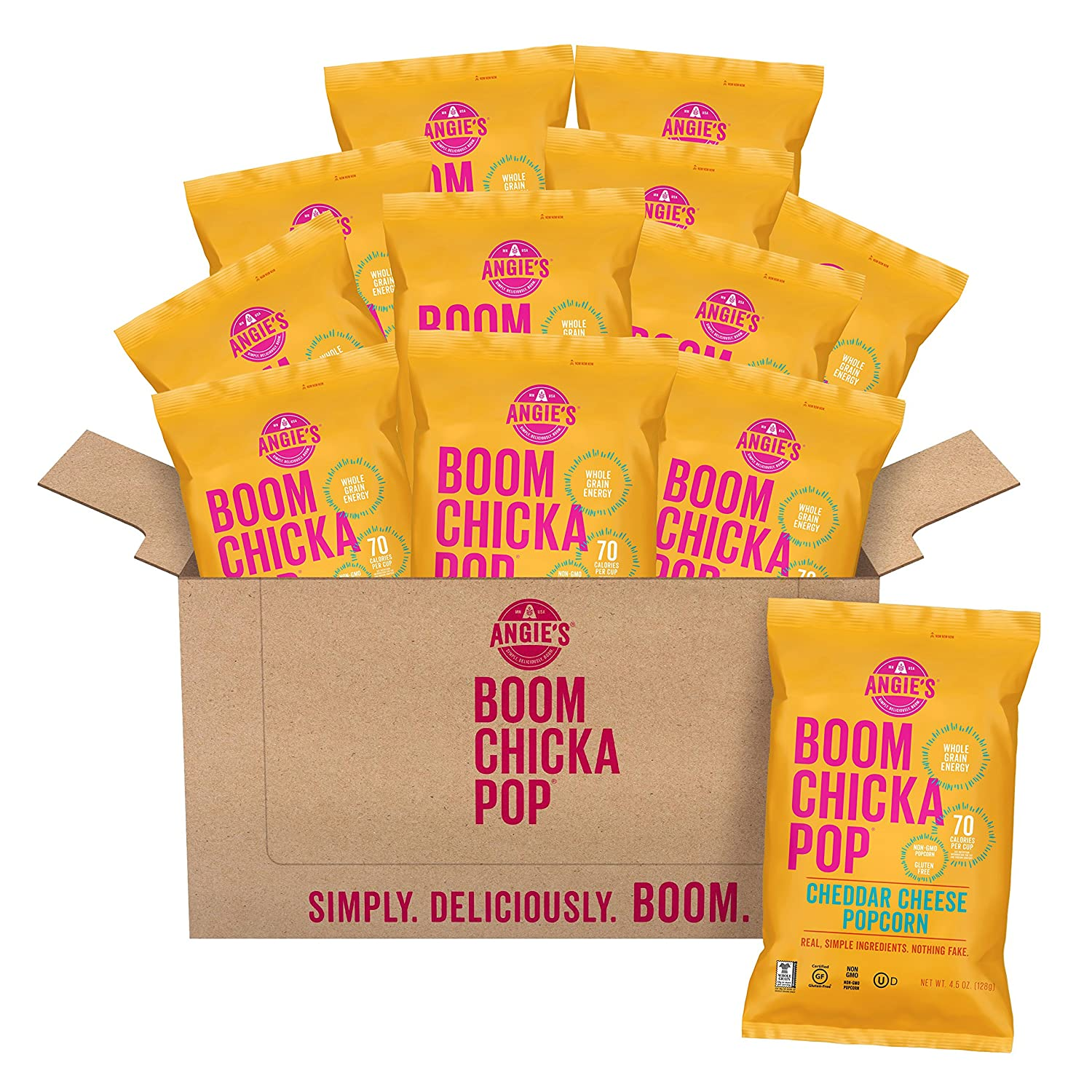 Angie's BOOMCHICKAPOP Cheddar Cheese Popcorn, 4.5 Ounce Bag (Pack of 12 Bags)