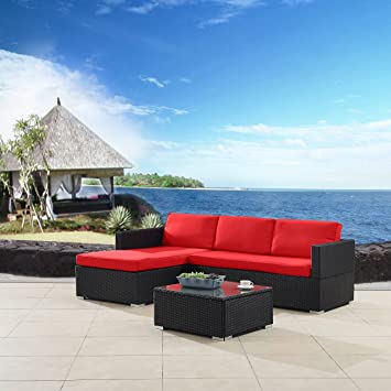 Modern Outdoor Garden, Sectional Sofa Set With Coffee Table   Black Wicker  Sofa Furniture Set