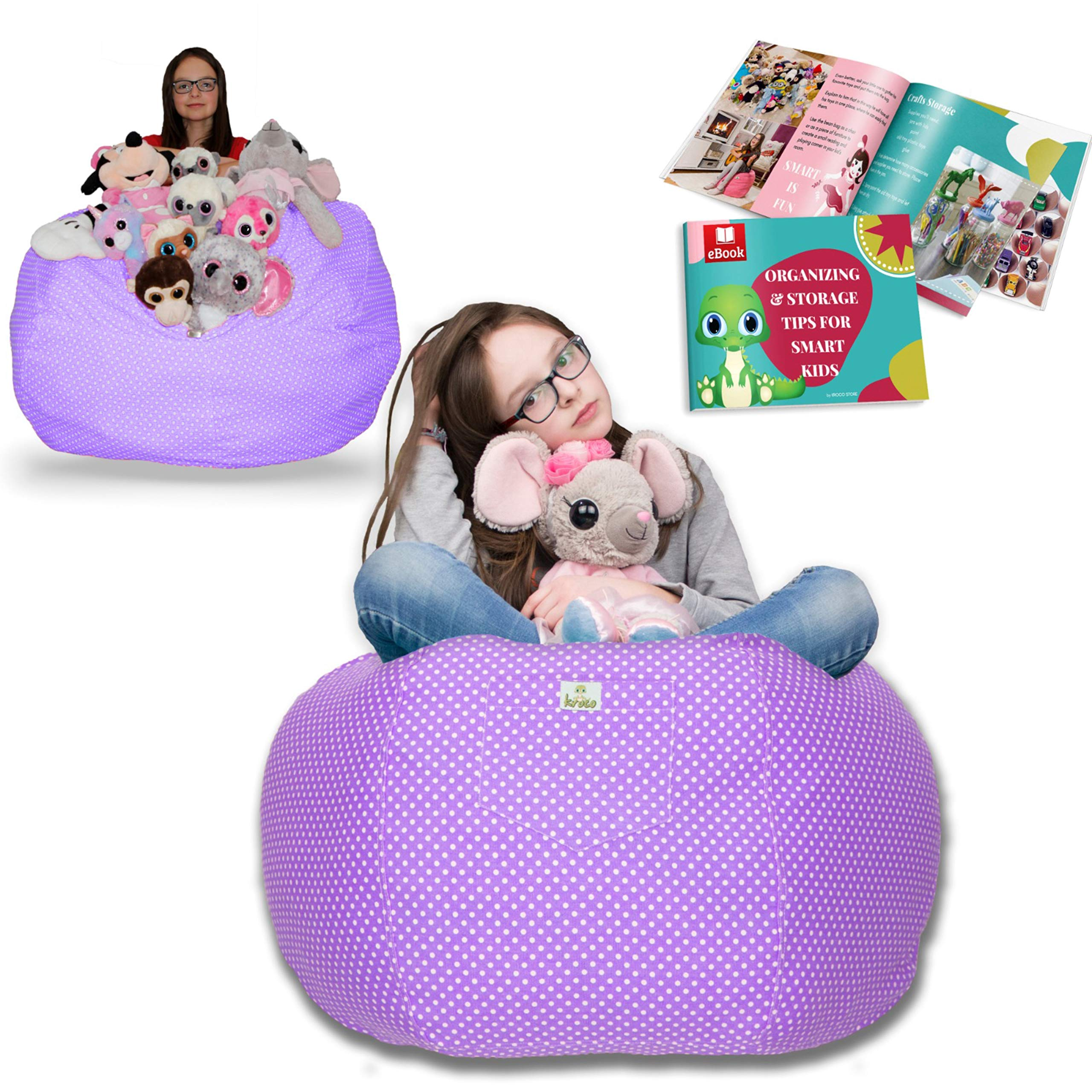 kroco extra large stuffed animal storage bean bag chair cover toy