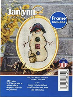 Skiing Dude Janlynn 1143-41 18 Count Mini Counted Cross Stitch Kit Oval 2.75-Inch