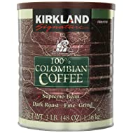 Kirkland Signature 100% Colombian Coffee, Supremo Bean Dark Roast-Fine Grind, 3 Pound