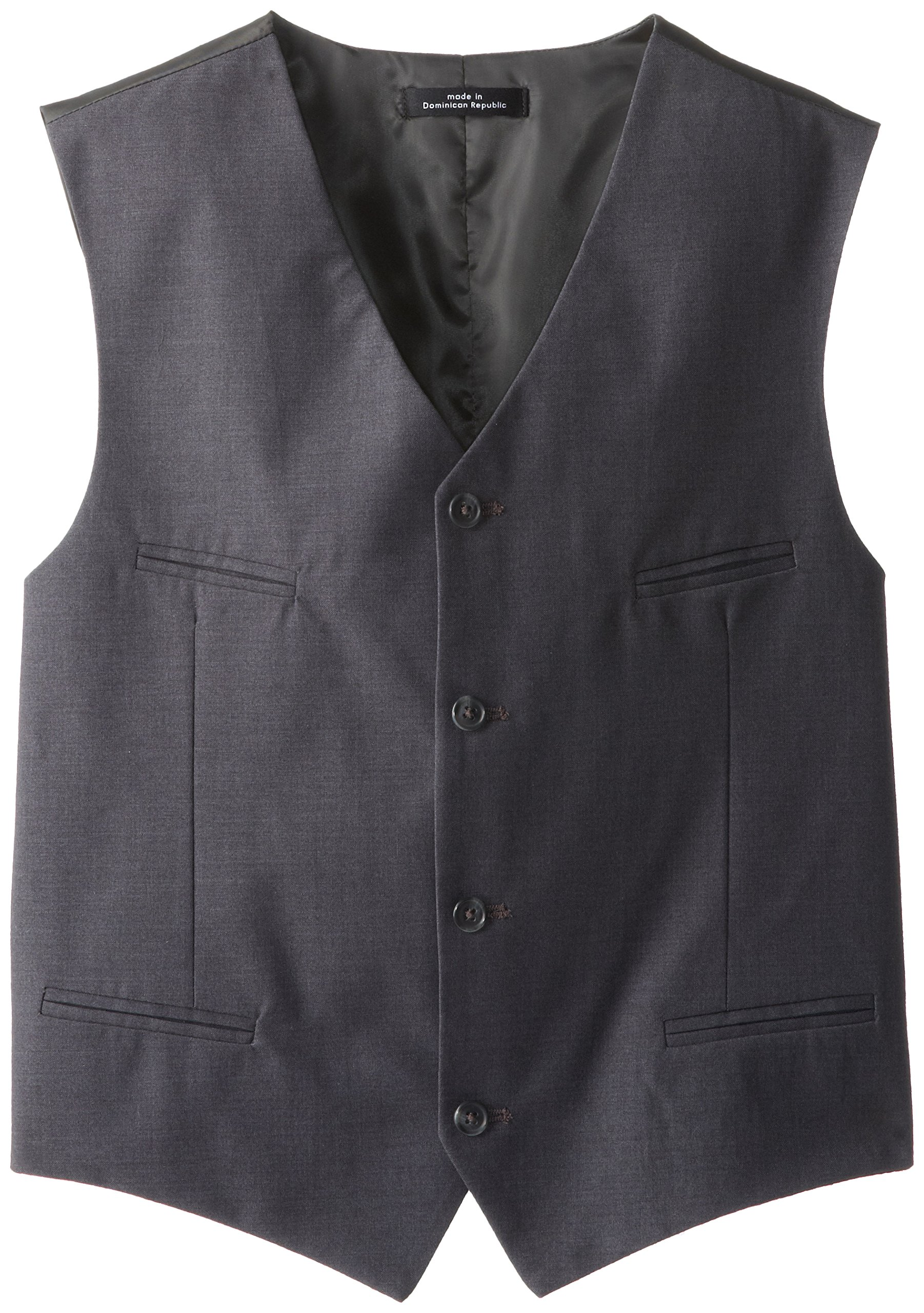 Calvin Klein Big Boys' Fine Line Twill Vest, Dark Charcoal Heather, Large by Calvin Klein (Image #1)