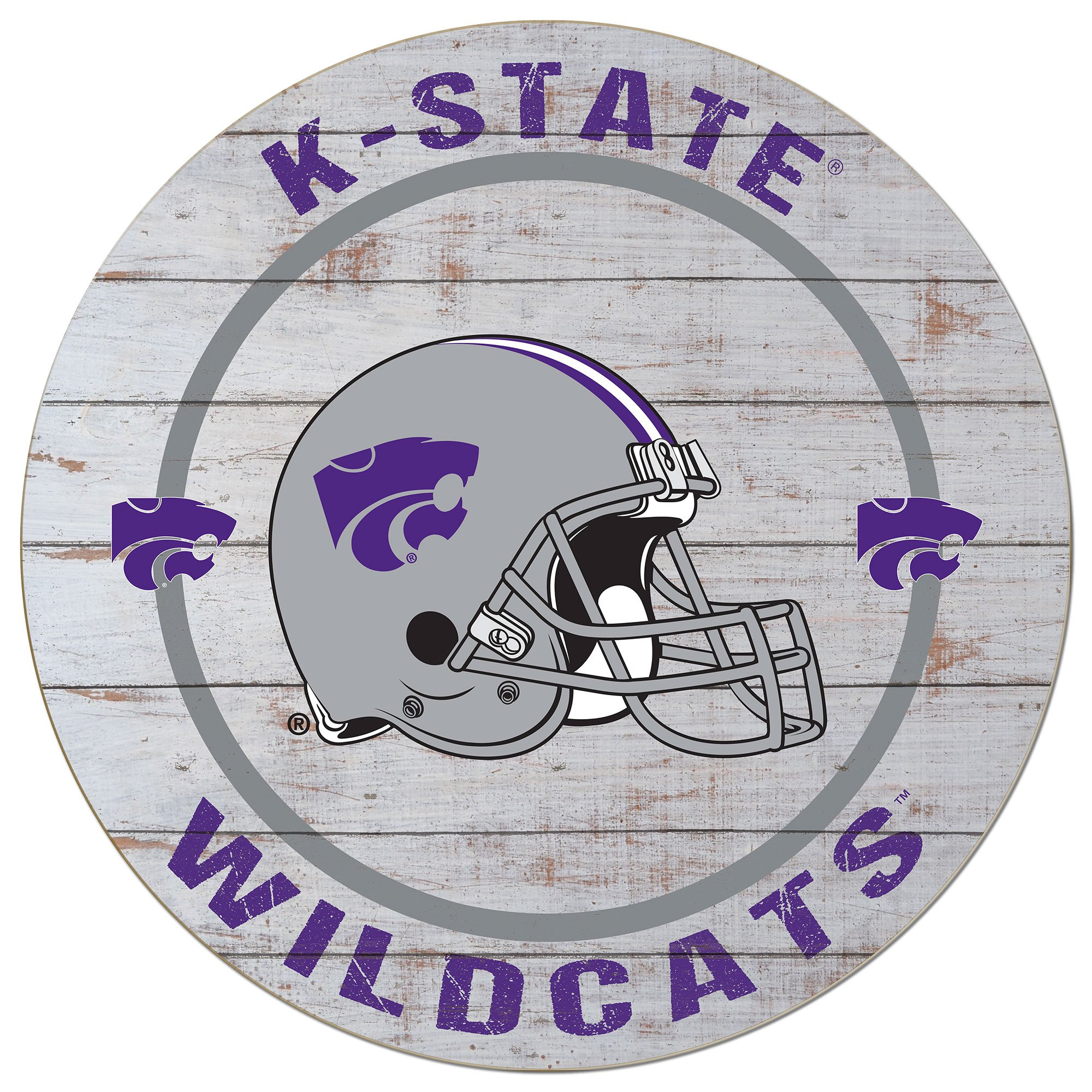 KH Sports Fan 20''x 20'' Kansas State Wildcats Helmet Weathered Circle Sign