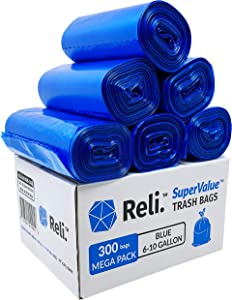 Reli. SuperValue 6-10 Gallon Recycling Bags (300 Count) Blue Trash Bags 10 Gallon with 6 Gal, 7 Gallon, 8 Gal Capacity - 10 Gallon Garbage Bags in Bulk (6 Gal - 10 Gal), Blue