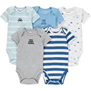 Wan-A-Beez 5 Pack Baby Girls' and Boys' Short Sleeve Bodysuits (0-3 Months, Turquoise Car)