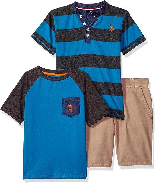 U.S. Polo Assn. Boys Toddler T-Shirt and Short 3 Piece Set, Blue ...
