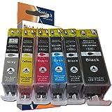 6 cartouches d'encre compatibles pour Canon Pixma MG6100 MG6150 MG6200 MG6250 MG8100 MG8150 MG8200 MG8250 MG 6100 6150 6200 6250 8100 8150 8200 8250 (compatibles pour PGI-525BK CLI-526BK CLI-526C CLI-526M CLI-526Y CLI-526GY , AVEC PUCE)