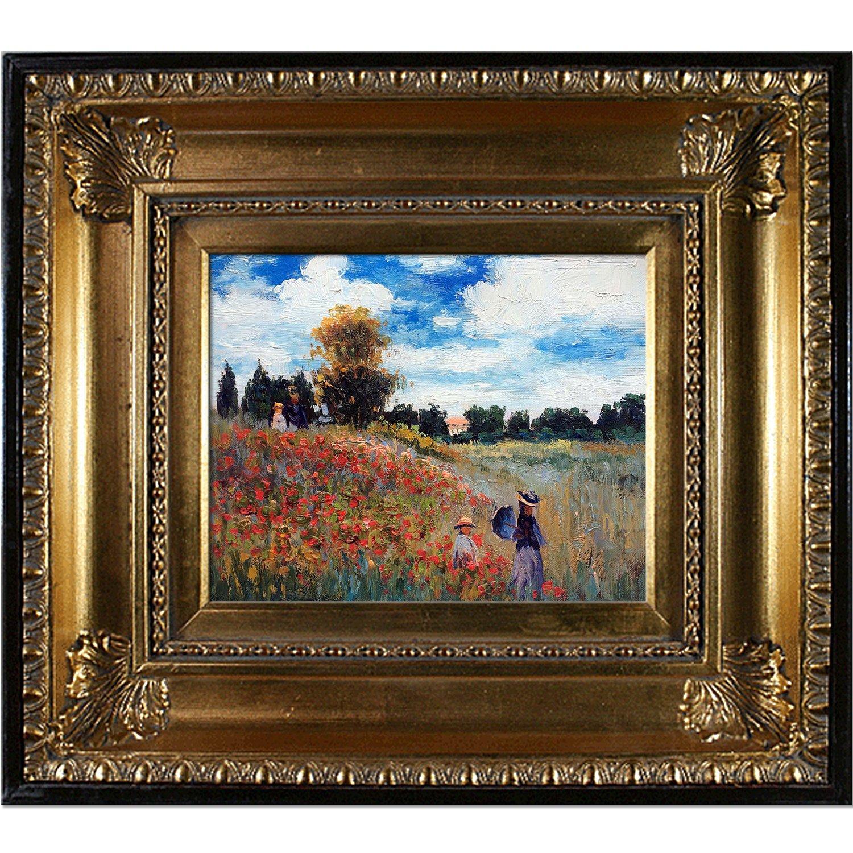 overstockArt MON2599-FR-650G8X10 Monet Poppy Field in Argenteuil Oil Painting with Regency Gold Frame, Gold Finish