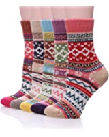 Color City Women's 5 Pairs Vintage Style Winter Knitting Warm Wool Crew Socks