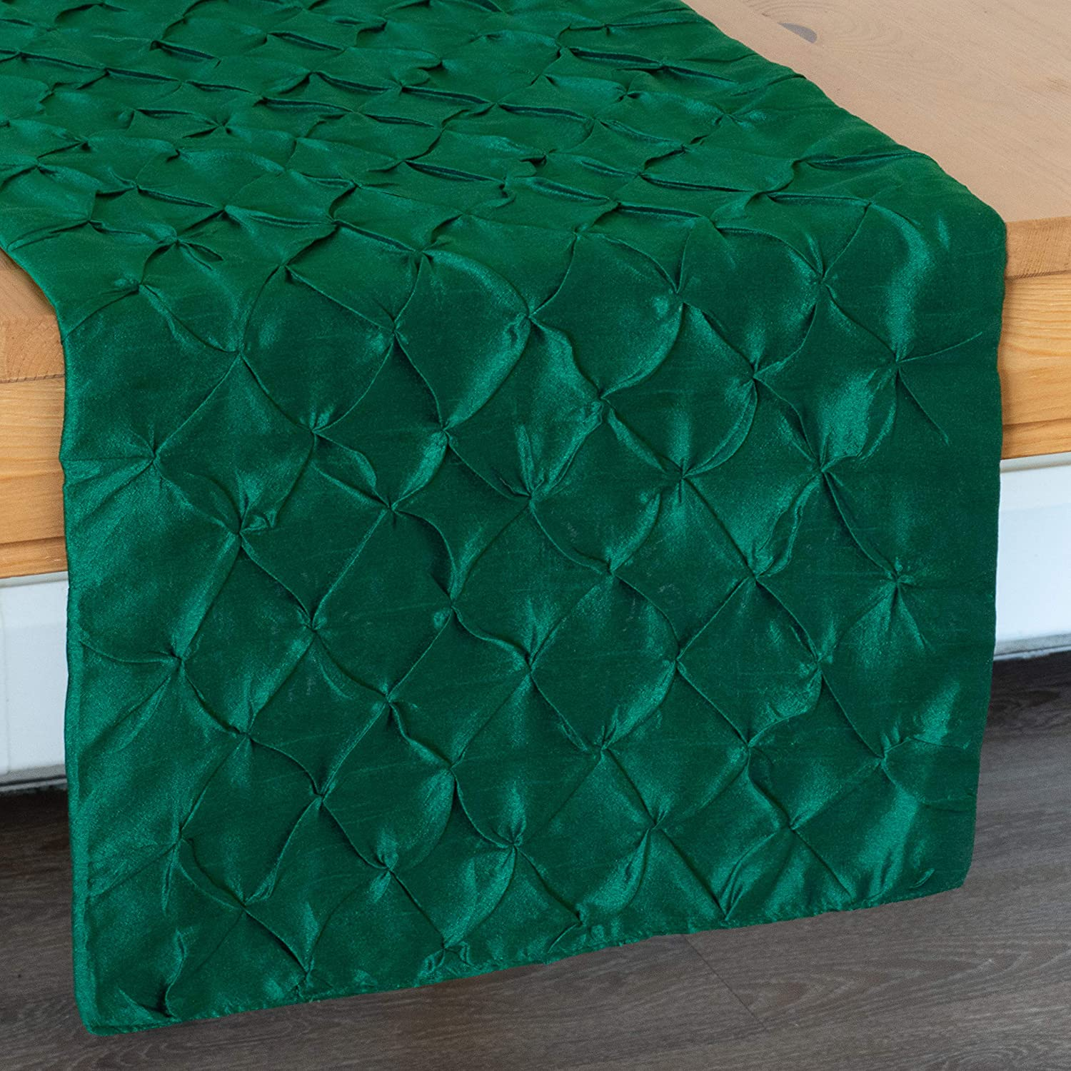 Emerald Green Linen Dresser Scarf Table Runners Pinch Pleat Fabric Lined | Properly Finished, No Fray Edges | for Home, Kitchen, Dining Room, Holiday, Wedding Party Décor - 14x36 inch, Pack of 1