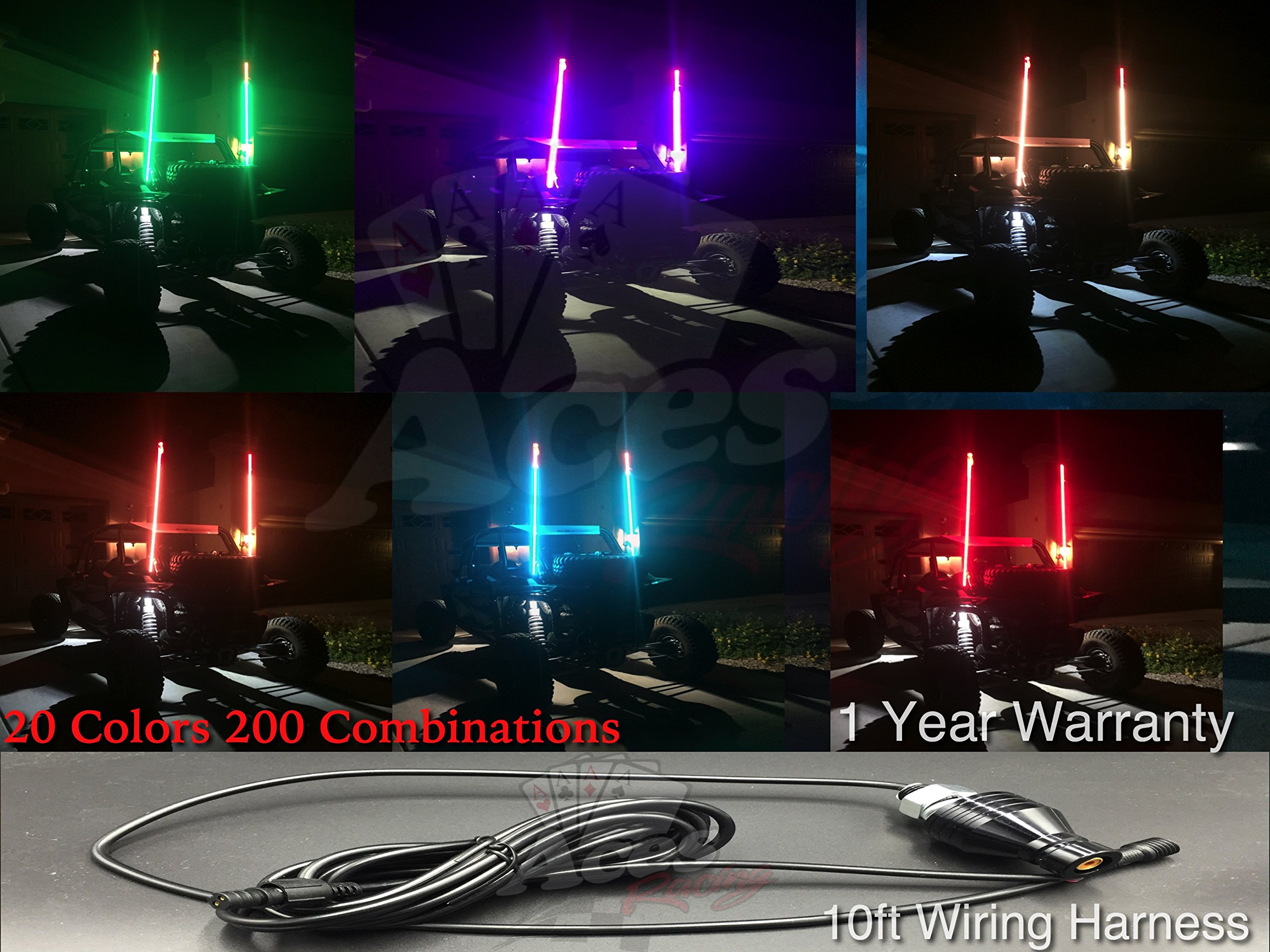4ft 20 Color 200 Combination LED Whip With Remote and Quick Connect