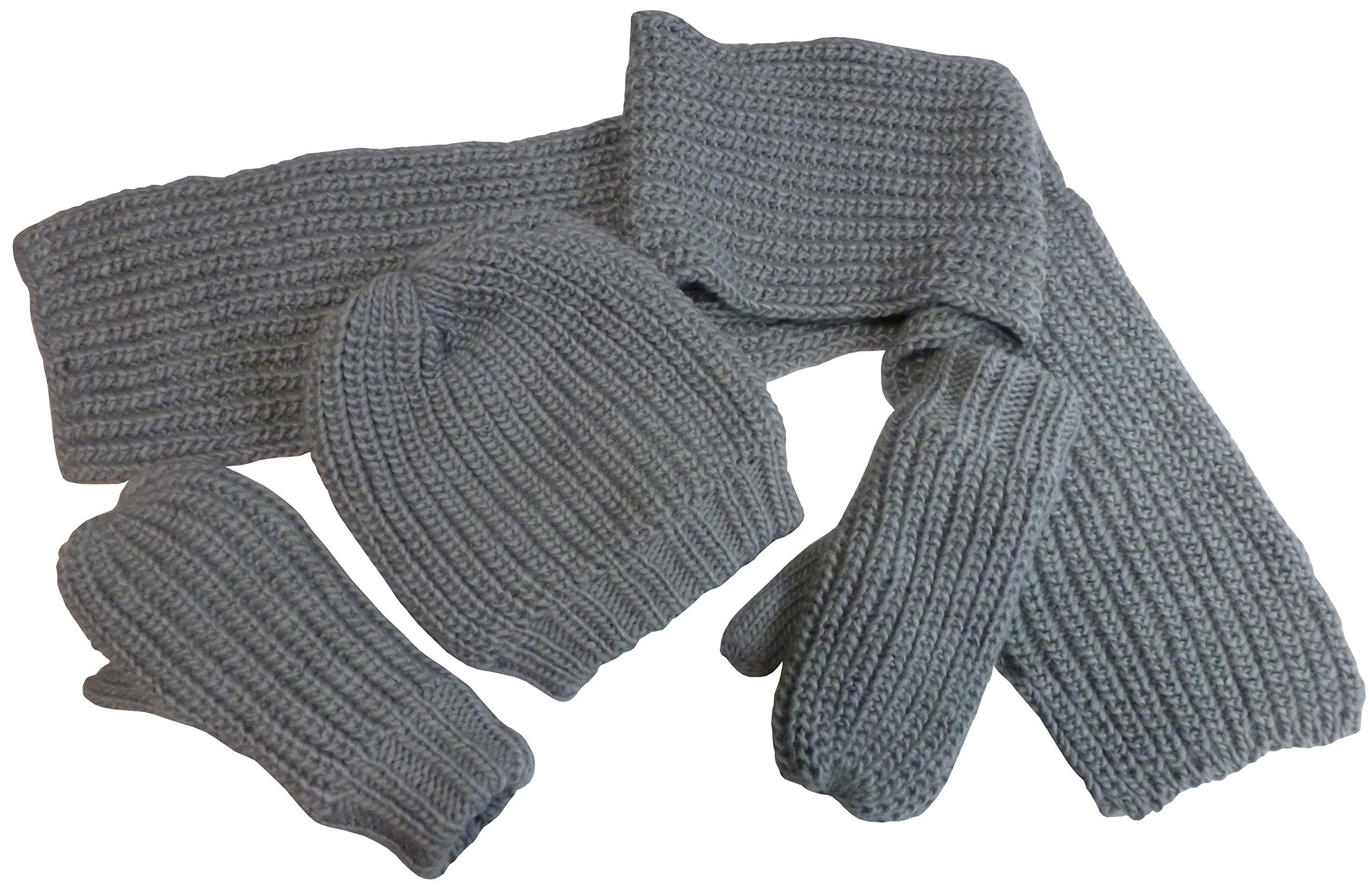 N'Ice Caps Boys Bulky Waffle Knit 3PC Set with Sherpa Lining (8-12yrs, Charcoal Grey)