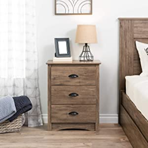 Prepac DDC-2403 Salt Spring 3-Drawer Tall Nightstand, Drifted Gray