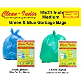 Clean India - 4 Packs Medium Disposable Garbage Bags for Wet and Dry Waste (60 Pieces Green and Blue Each) -2 Packs Each