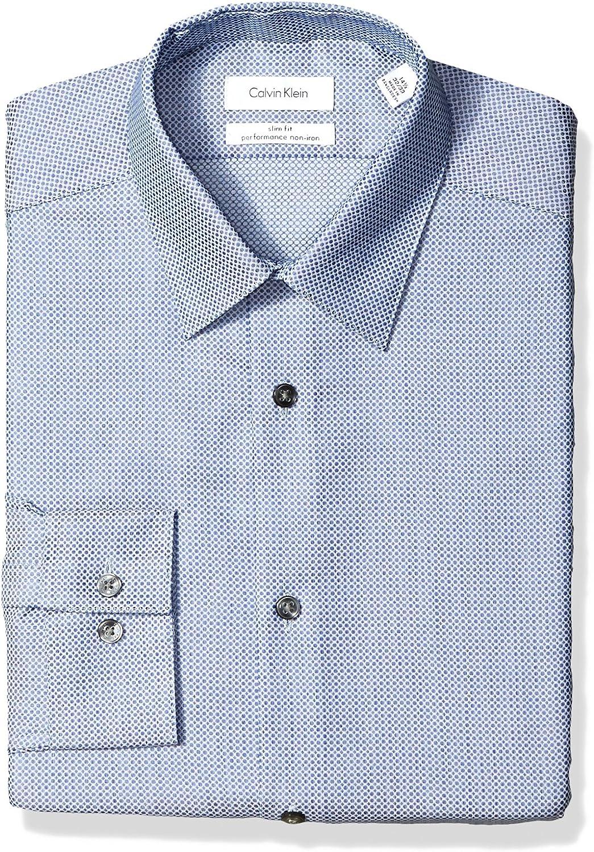 Calvin Klein Hombre 33K3951 Manga Larga Camisa de Vestir - Azul ...