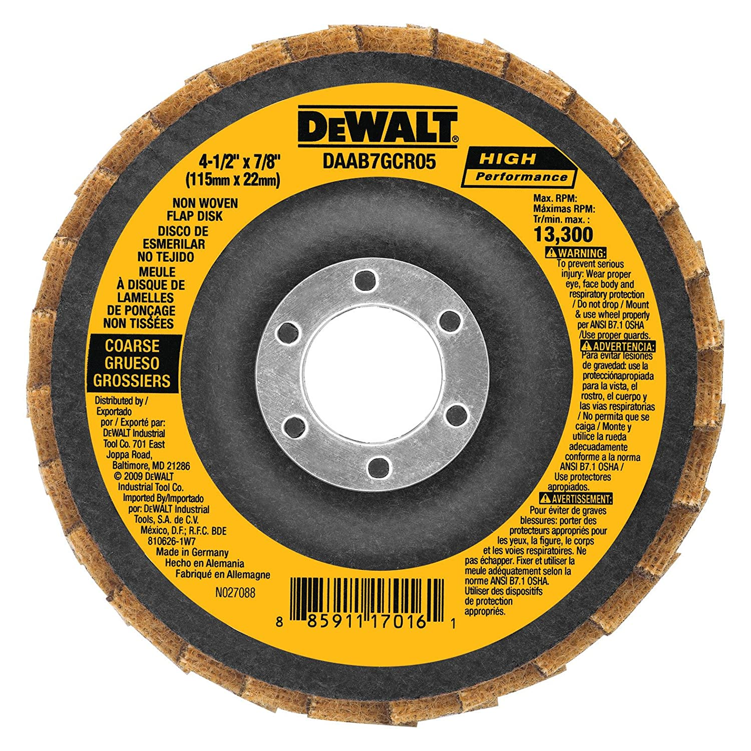 Amazon.com: DEWALT DAAB7GCR05 4-1/2-Inch by 7/8-Inch course non woven flap disc: Home Improvement