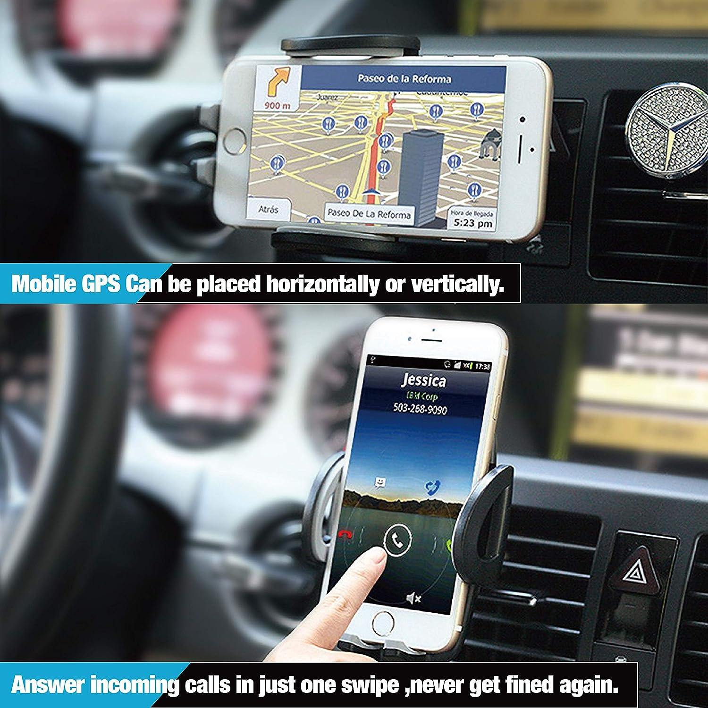Samsung S8// S7 2 Pinces de Ventilation IZUKU Support Telephone Voiture Ventilation avec Rotation 360/° Universel pour iPhone X//S//Max// 8//7 Smartphone et GPS Appareils