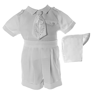 cd53affc583 Amazon.com  Lauren Madison Baby Boys  Christening Baptism Poly Gabardine 3  Piece Short Set  Clothing