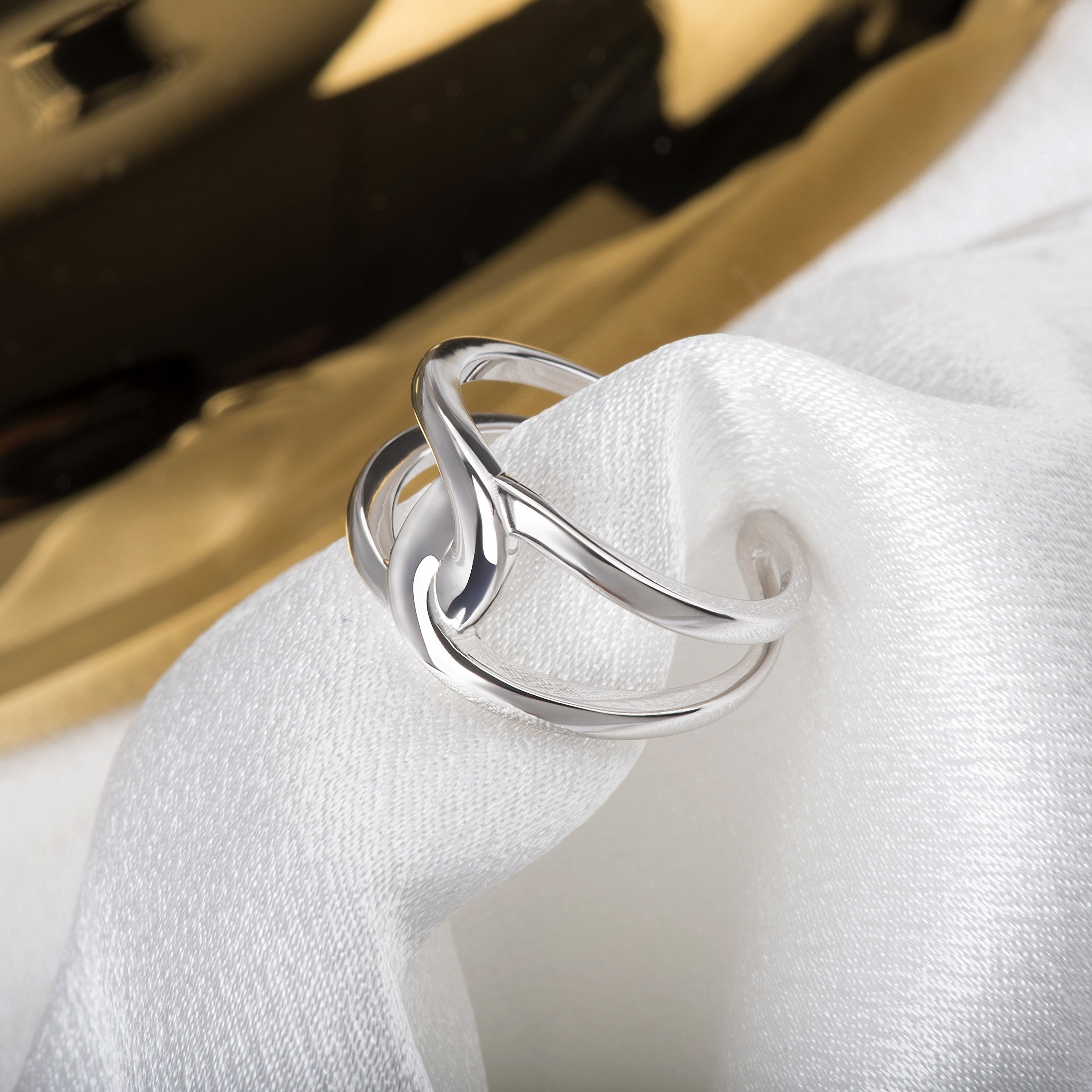 Fonsalette Gold Plated Infinity Ring Sterling Silver Open Twist Ring Two Band Ring (silver) by Fonsalette (Image #4)