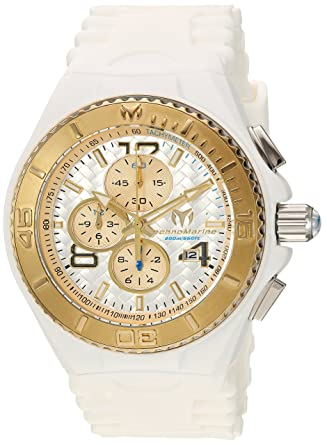 Technomarine Mens Cruise Quartz Stainless Steel and Silicone Casual Watch, Color:White