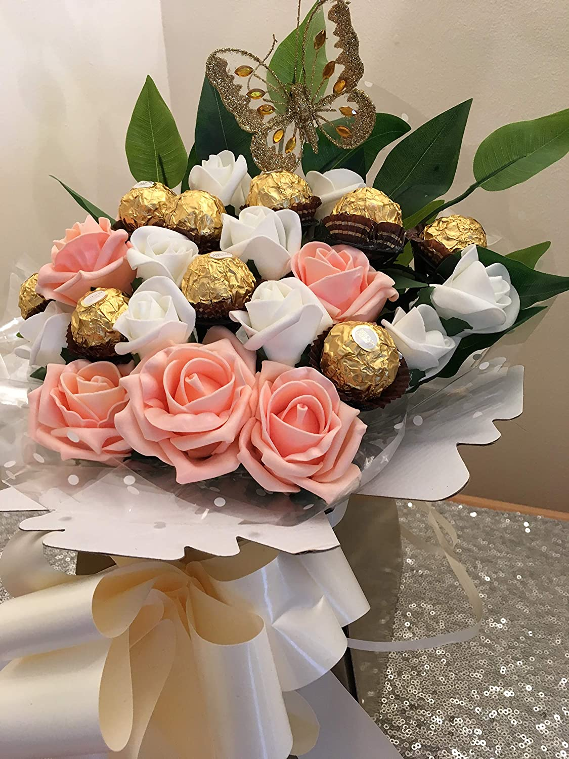 Ferrero Rocher Chocolate Peach White Roses Bouquet Hamper Gift Idea Peach Ferrero Amazon Co Uk Grocery