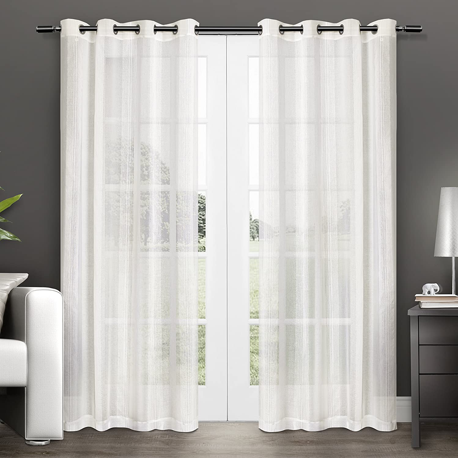 Amazon Exclusive Home Curtains Penny Sheer Grommet Top Window