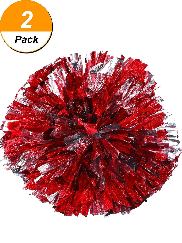 2 Packung Cheerleading Pompoms Metallic Blume Ball Folie Kunststoff Ringe Pom Poms für Jubel, Tanzgruppe Tanzgruppe (Rot und Silber) Bememo