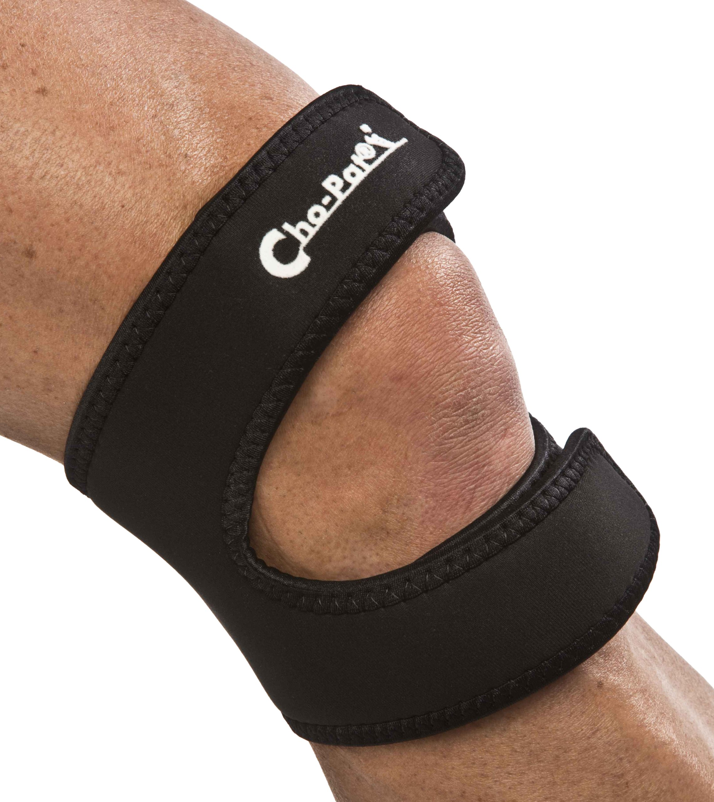 Cho-Pat Dual Action Knee Strap - Provides Full Mobility & Pain Relief For Weakened Knees - Black (Large, 16''-18'')