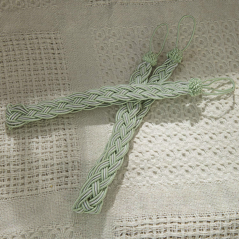 4 Packs LIFONDER Hand Knitting Braided Curtain Tiebacks Holdbacks Curtain Rope Tiebacks//Drape Tie Backs Green