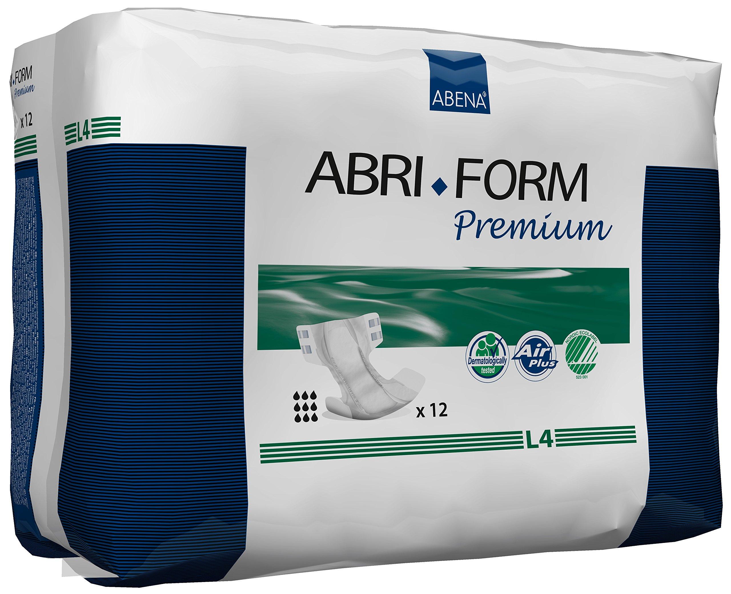 Abena Abri-Form Premium Incontinence Briefs, Large, L4, 96 Count (2 Cases of 48)