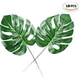 Fake Faux Artificial Tropical Palm Leaves for Home Kitchen Party Decorations or Handcrafts 18 Counts by ZXSWEET