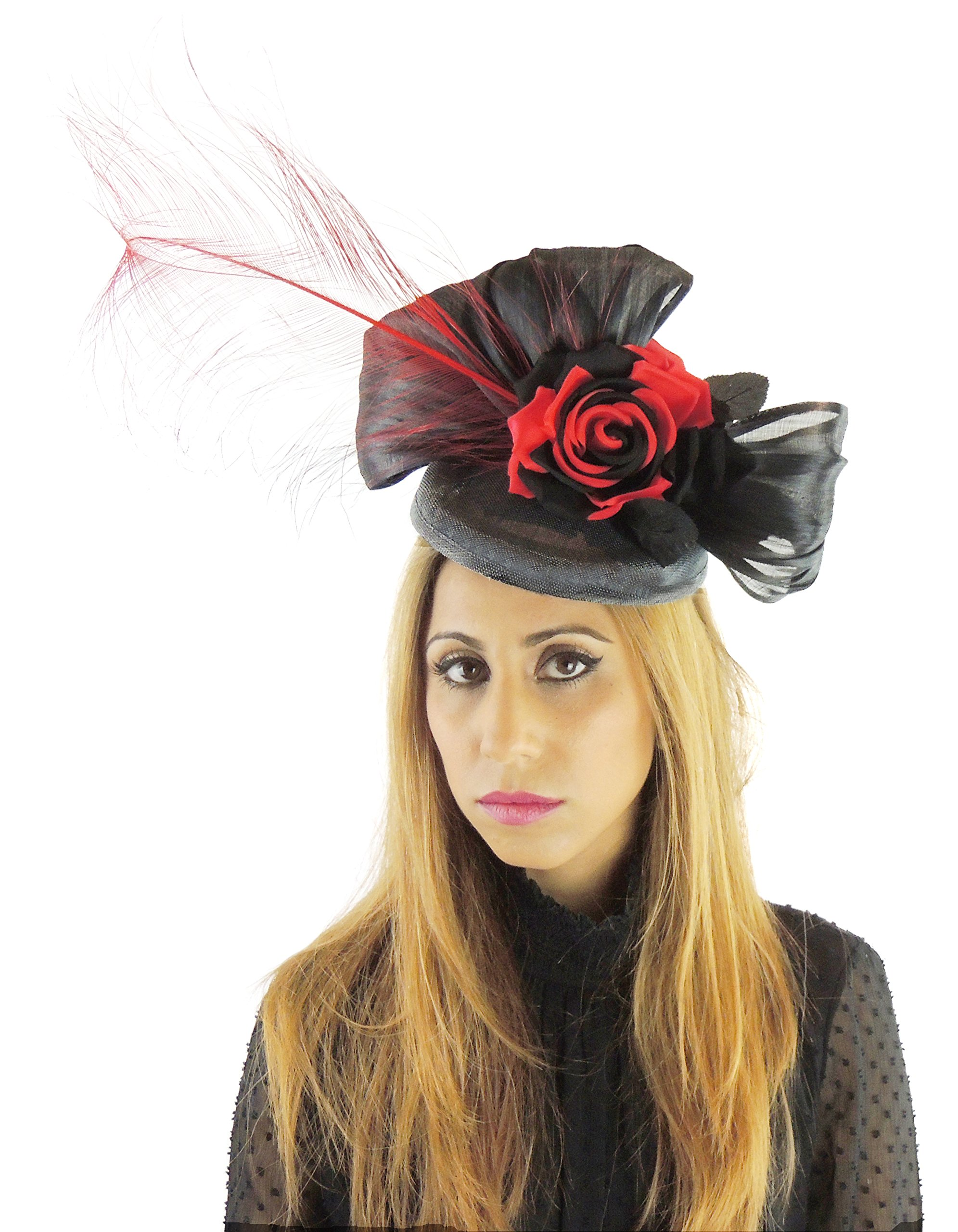 Hats By Cressida Silk Sinamay & Silk Flower Elegant Ladies Ascot Wedding Fascinator Hat Black & Red by Hats By Cressida