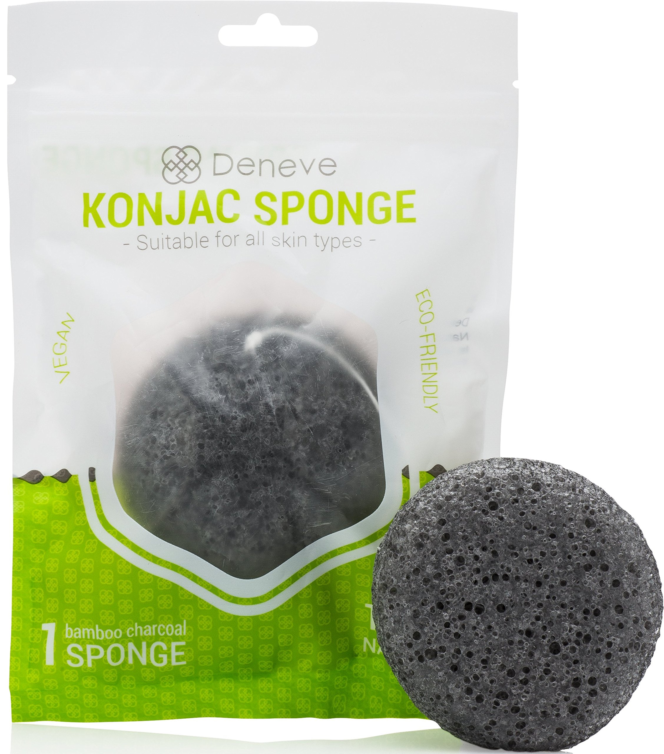 Konjac Natural Face Sponge By Deneve - Exfoliating Facial Makeup Sponges - Cr.. 10