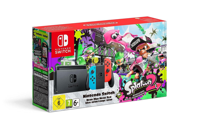 Nintendo Switch Consola color Azul Neón Rojo Neón  Splatoon Contiene código