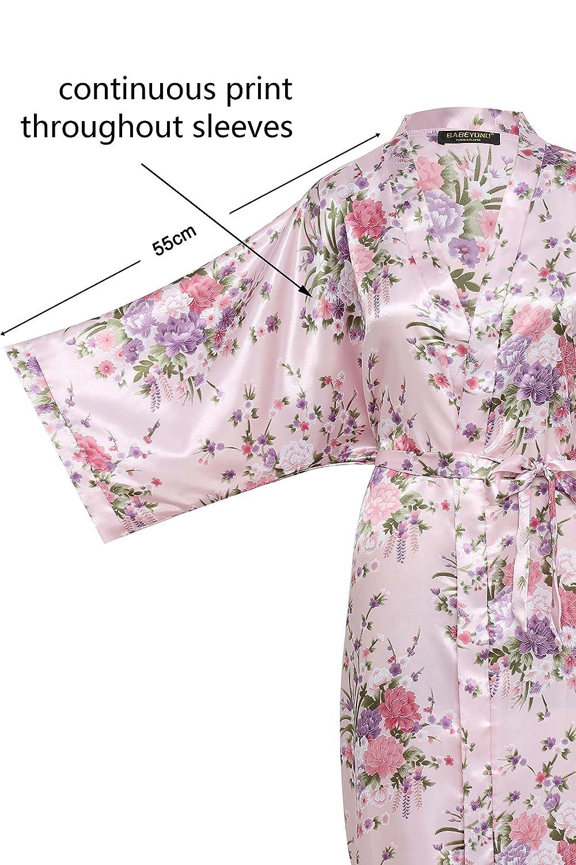BABEYOND Kimono de Seda Vestido de Sat/én Kimono Pavo Real Novia Pijamas de Seda Bata de Sat/én 135 cm