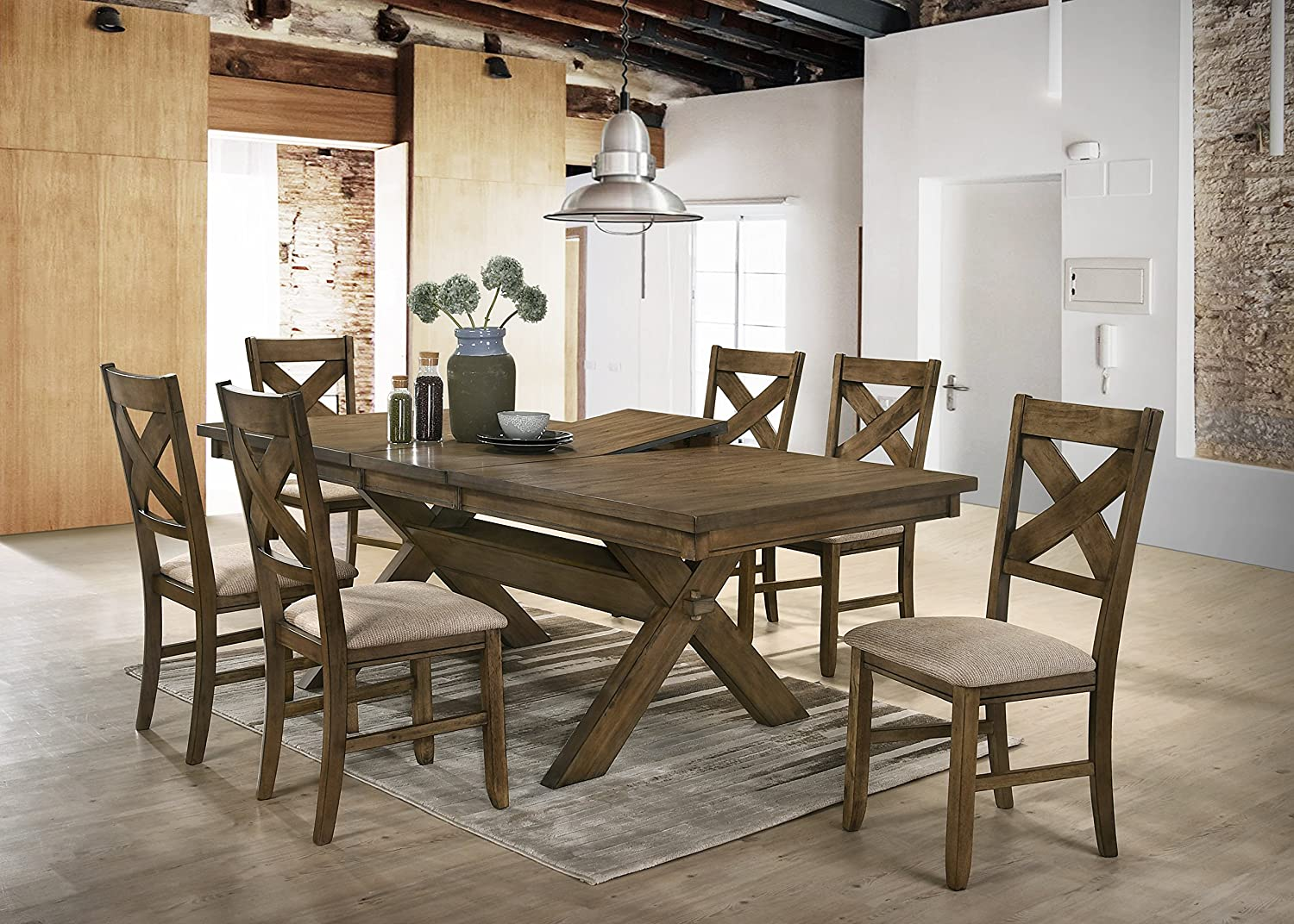 Raven Wood Dining Set: Butterfly Leaf Table, Six Chairs