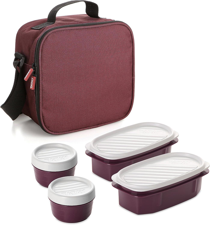 TATAY Urban Food Casual - Bolsa térmica porta alimentos con 4 tapers herméticos incluidos, 3 litros de capacidad, Burdeos, 22.5 x 10 x 22 cm