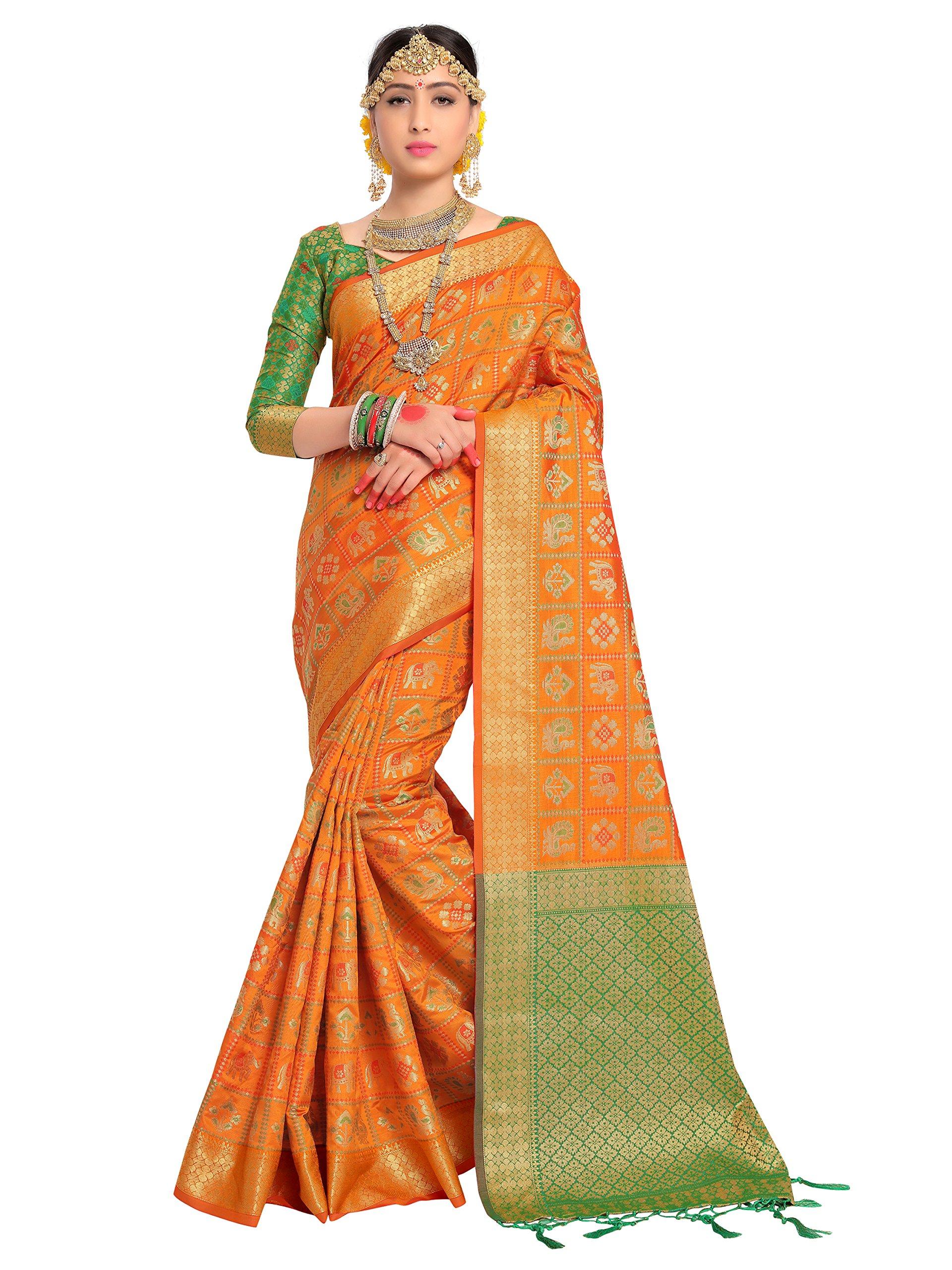 ELINA FASHION Sarees for Women Patola Art Silk Woven Work Saree l Indian Wedding Ethnic Sari & Blouse Piece (Orange)