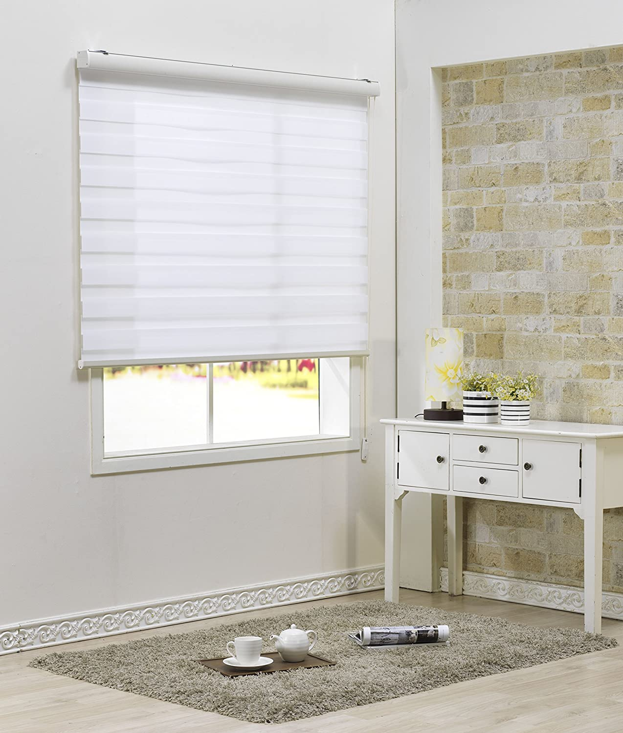 Winsharp Blackout Jasmine , White , W 23 x H 64 Inch Custom Cut to Size Maximum 91 Inch Wide by 103 Inch Long Roller Blackout Fabric Shade Horizontal Window Blinds /& Treatments