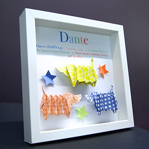 Personalized Name Origin U0026 Meaning Baby Gift Paper Origami Dachshunds Dogs  Puppies Shadowbox Frame Custom Art