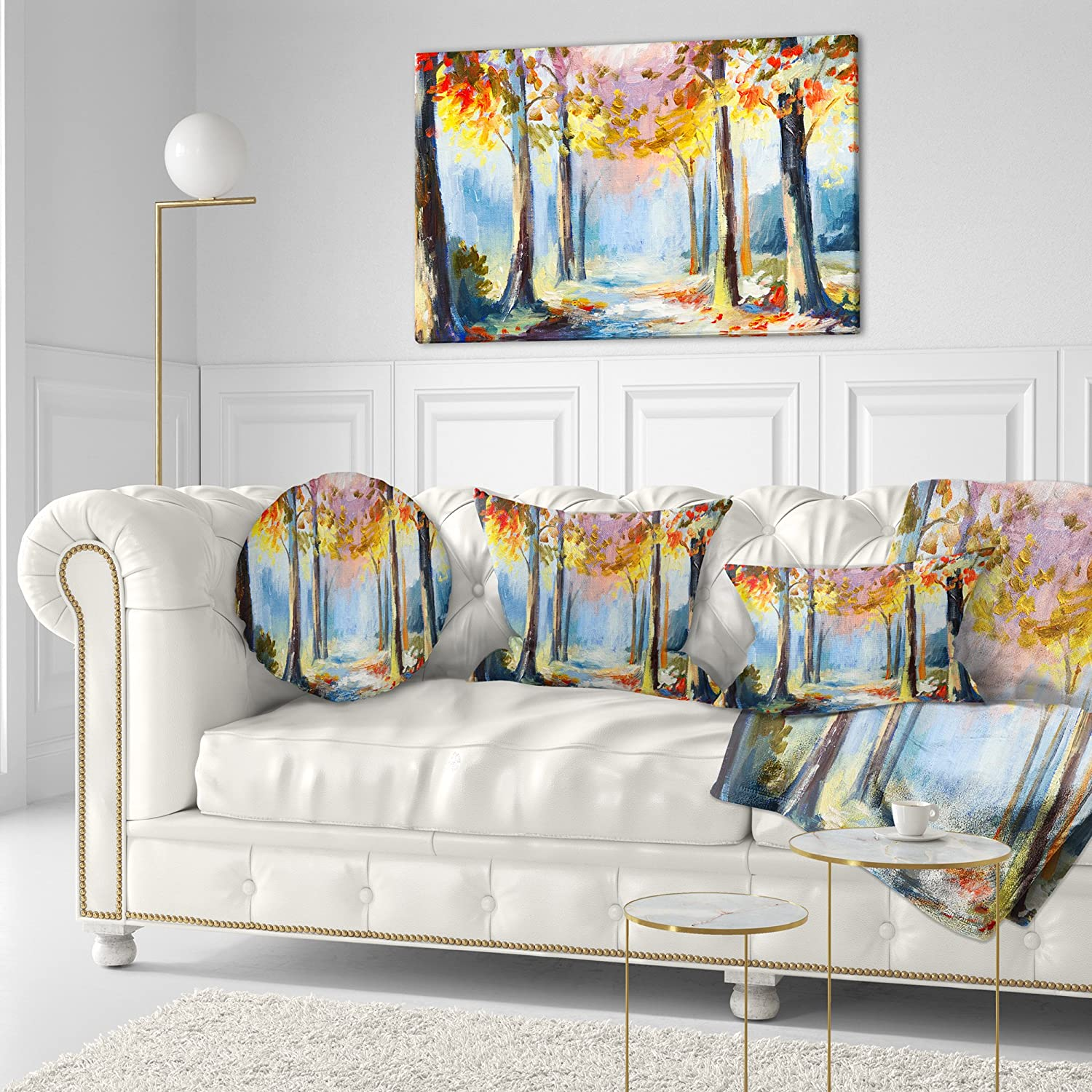 Designart CU6255-26-26 Colorful Spring Forest Landscape Printed Throw Pillow x 26 in,