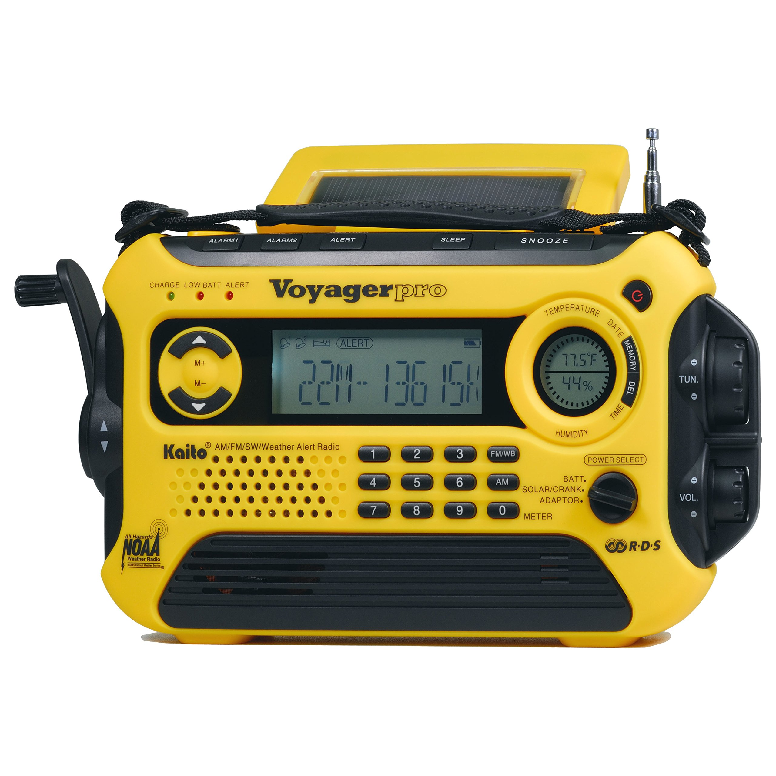 Kaito Voyager Pro KA600 Digital Solar Dynamo Crank Wind Up AM/FM/LW/SW & NOAA Weather Emergency Radio with Alert, RDS & Smart Phone Charger, Yellow (AC Wall Adapter Included) by Kaito (Image #3)
