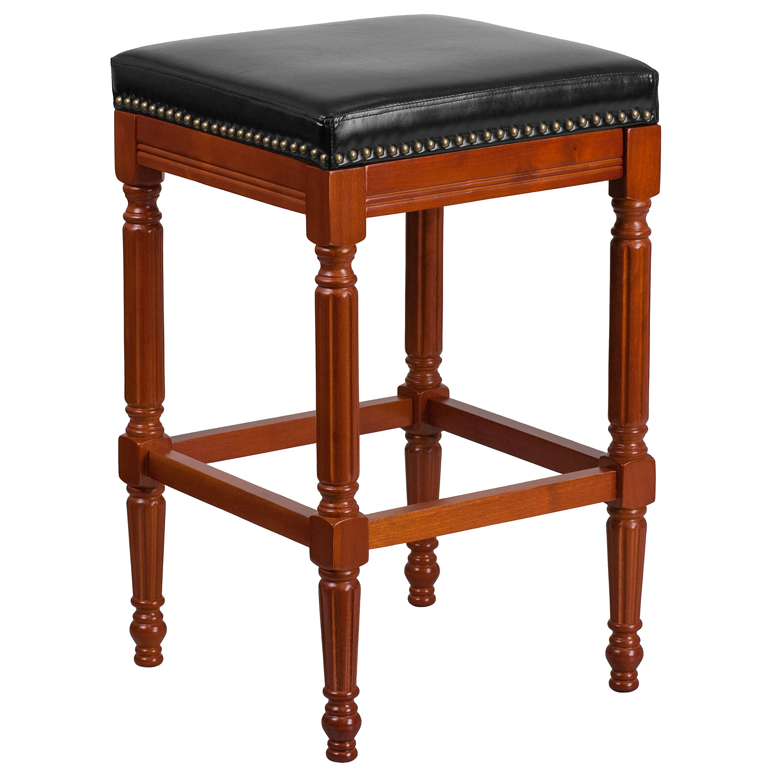 Flash Furniture 30'' High Backless Light Cherry Wood Barstool with Black Leather Seat