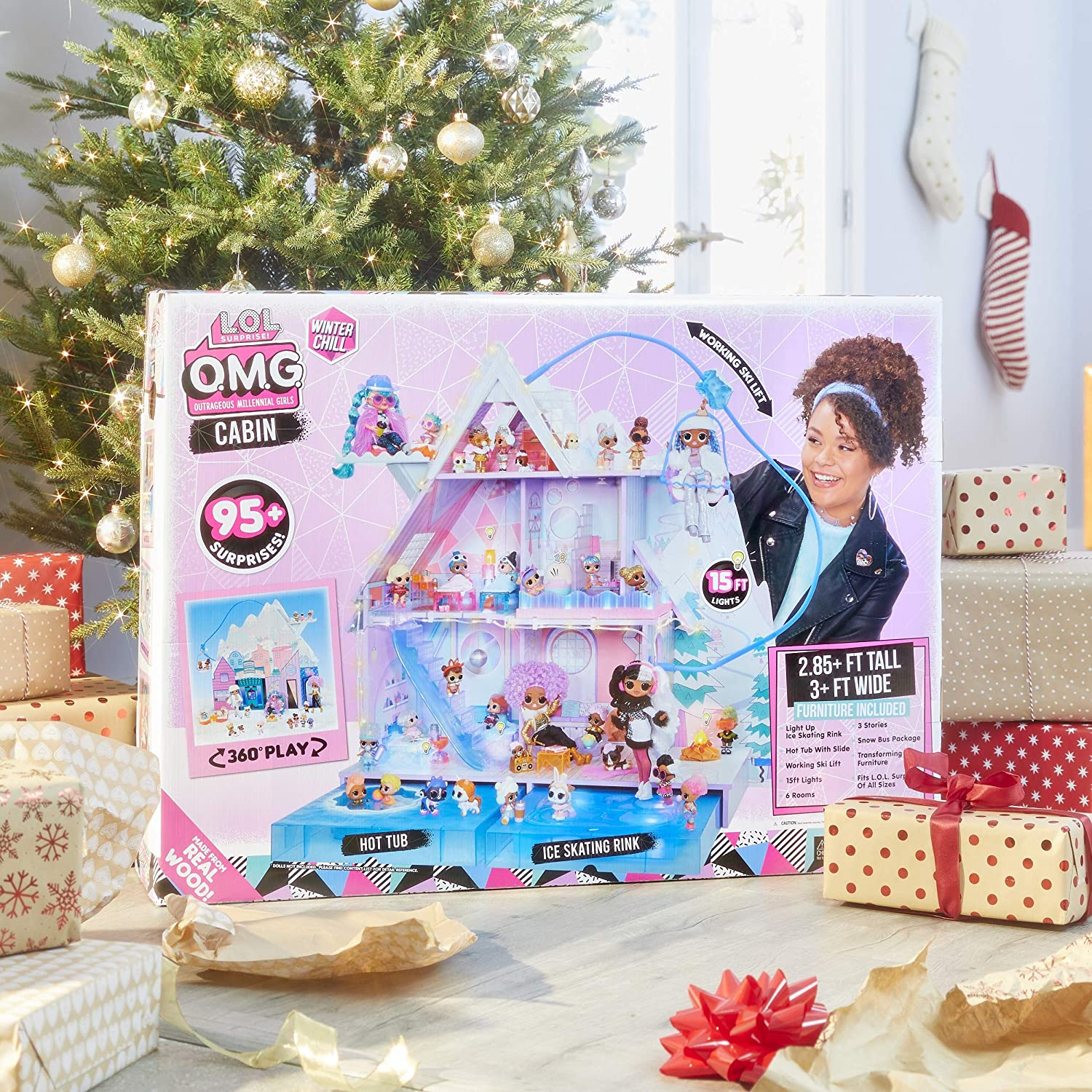Surprise O.M.G Hot Tub and Real Ice Skating Rink HiCollections L.O.L Winter Chill Cabin Wooden Doll House with 95+ Surprises