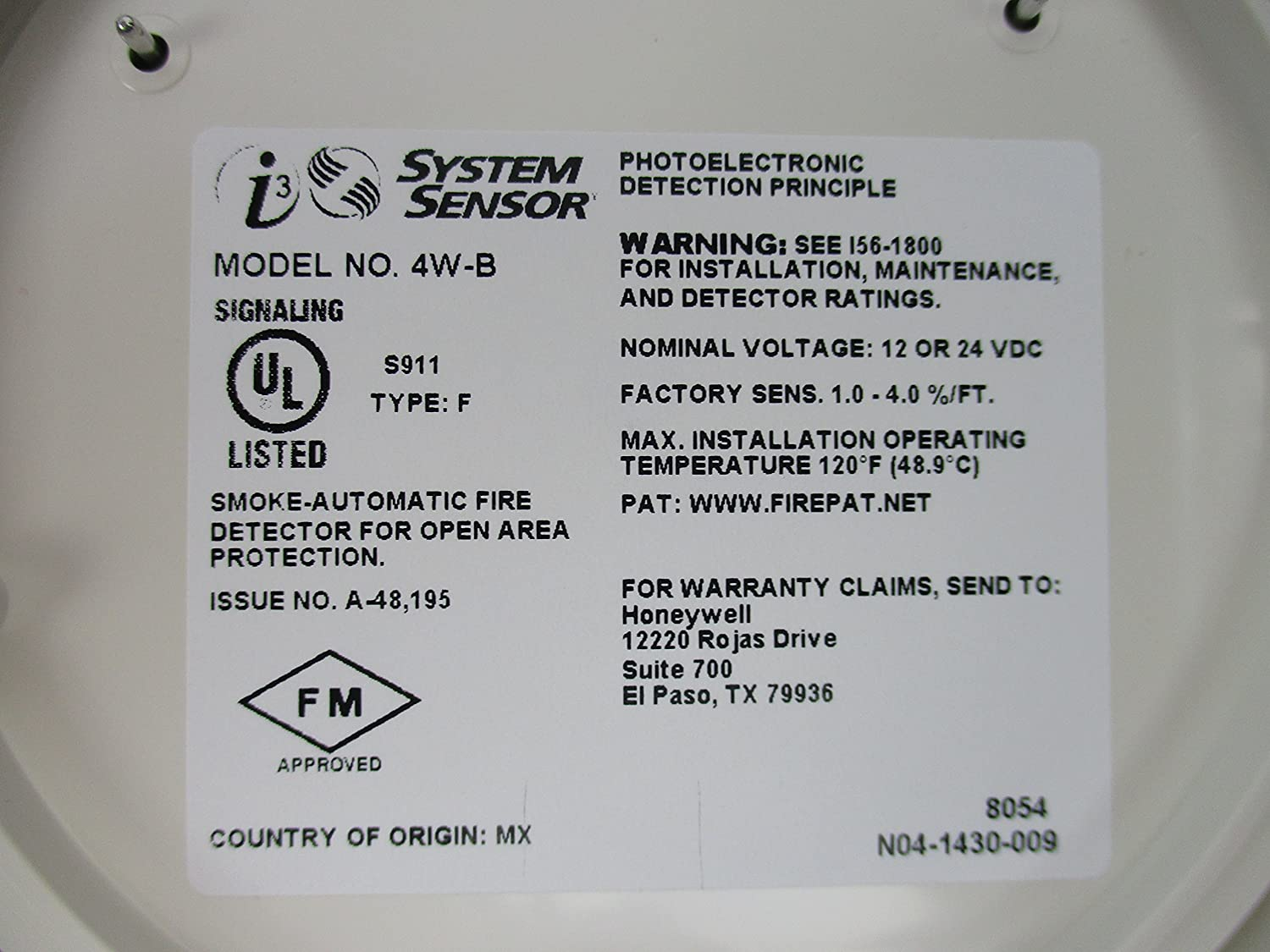 SYSTEM SENSOR Smoke Alarm, 12/24 VDC, 4-Wire, w/Base: Amazon.com: Industrial & Scientific