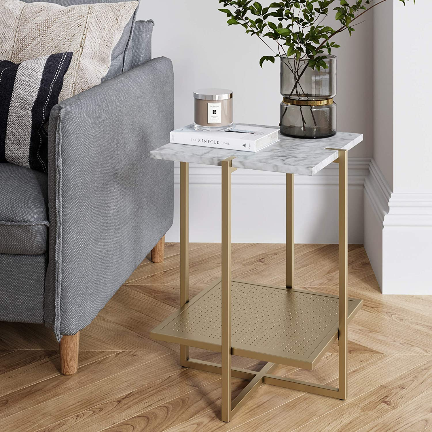 Nathan James 32603 Myles Nightstand Marble Accent Table, White/Gold