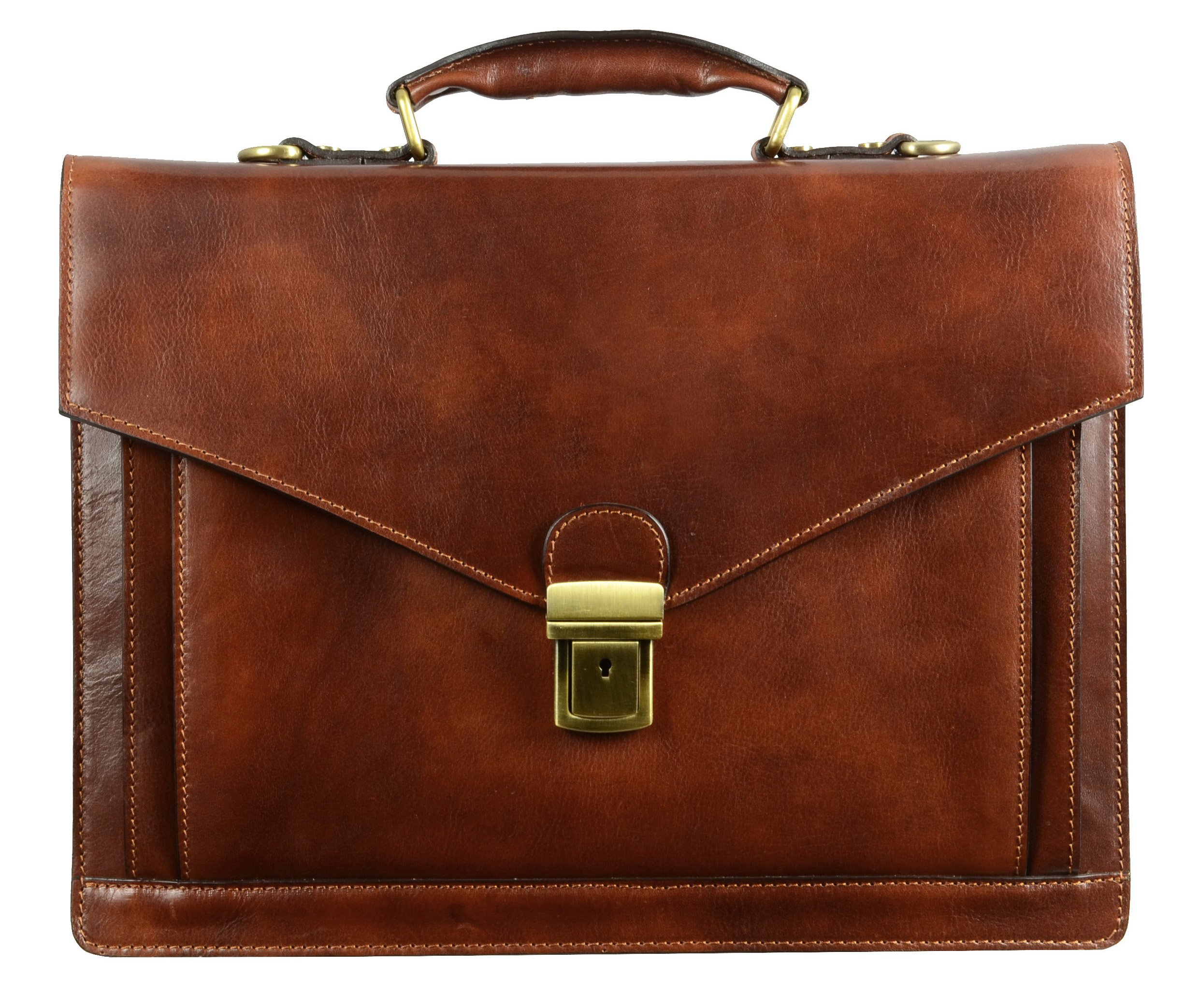 Full Grain Leather Briefcase Handmade Laptop Bag Medium Attache Unisex Classic Style - Time Resistance (Dark Brown)