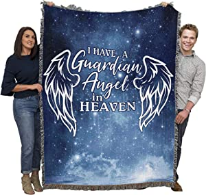 Pure Country Weavers I Have a Guardian Angel in Heaven - Sympathy Blanket Throw Woven from Cotton - Made in The USA (72x54)
