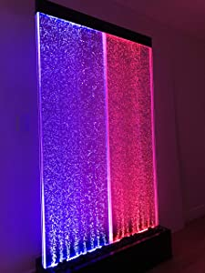 """Jersey Home Decor 72""""x40"""" 3XL Bubble Fountain, Stainless Steel Base Twin Bubble Panel, Color Lights/Remote Ctrl"""