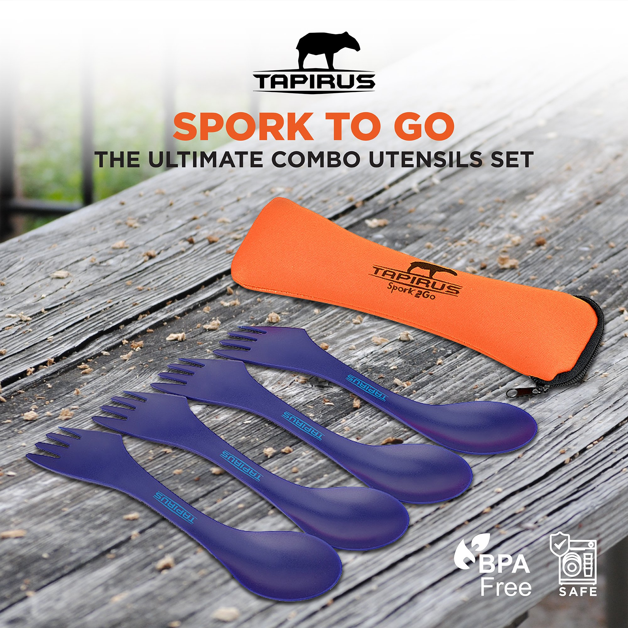Tapirus 4 Blue Spork To Go Set | Durable & BPA Free Tritan Sporks | Spoon, Fork & Knife Combo Utensils Flatware | Mess Kit For Camping, Fishing, Hunting & Outdoor Activities | Comes In A Carrying Case by Tapirus (Image #6)